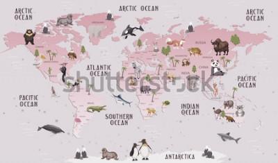 Nálepka Zvířata mapa světa pro děti tapety design