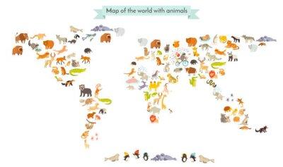 Nálepka Zvířata mapa světa. Vzdělání