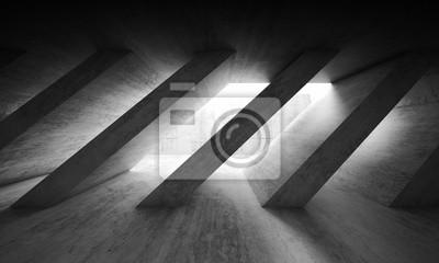 Obraz 3 d tmavý beton interiér s diagonálními sloupy
