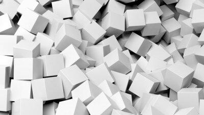 Obraz 3D bílé kostky hromadu abstraktní pozadí