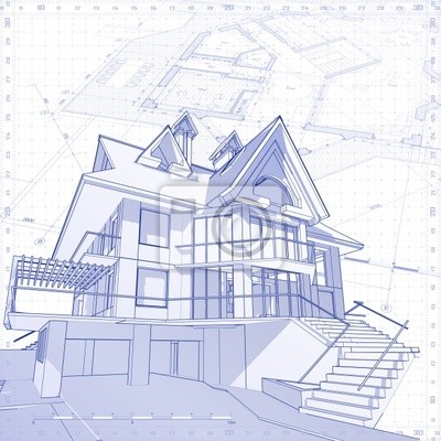 3d dům: technické kreslení vektorové