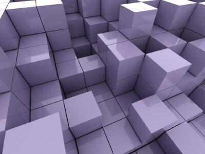 Obraz 3d ilustrace fialové kostky