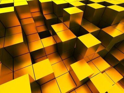 Obraz 3d ilustrace zlaté kostky