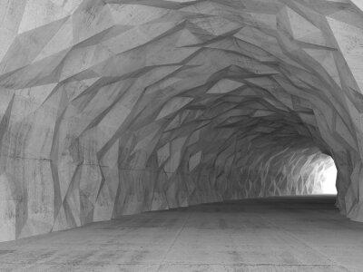 Obraz 3d interiér tunel s chaotickým polygonální úlevou
