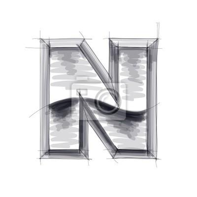 3d kovů dopisy skica - N. EPS10