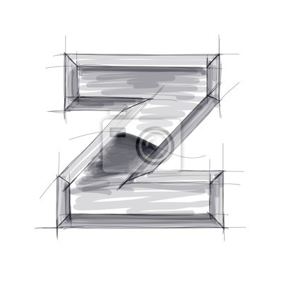 3d kovů dopisy skica - Z. EPS10