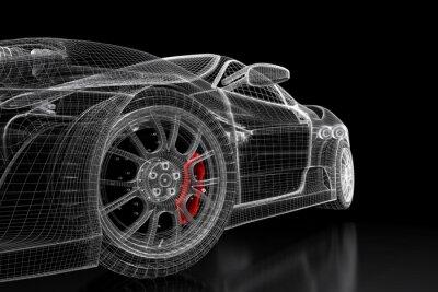 Obraz 3D mesh auto na černém