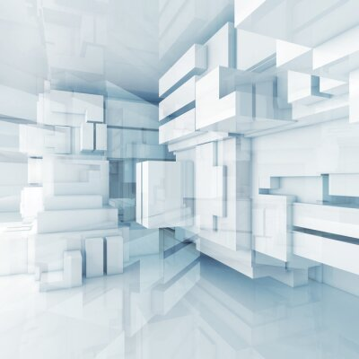 Obraz 3D modré high-tech pozadí s chaotickým kostky
