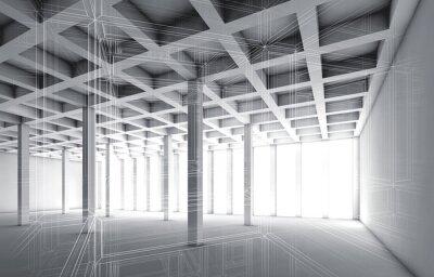 Obraz 3d prázdné interiér s drátěném rámu efektem