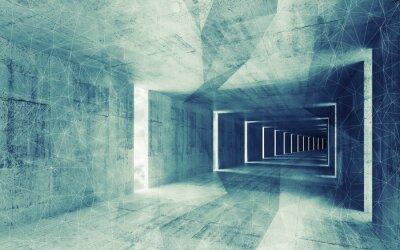 Obraz 3d render, zelené a modré tónovaný abstraktní prázdný konkrétní vnitřní bac
