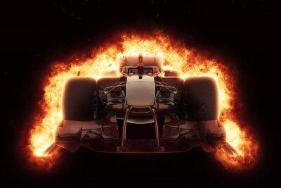 Obraz 3D závodní auto s ohnivým efektem výbuchu