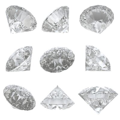 Obraz 9 diamanty nastavit na bílém pozadí - ořezová cesta