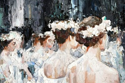 Obraz  A group of beautiful graceful ballerinas in white dresses and with flowers in hair, in the theater are preparing for the performance. Oil painting on canvas.