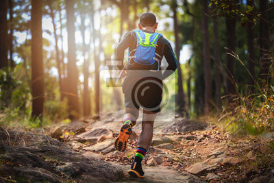 Obraz A man Runner of Trail . and athlete's feet wearing sports shoes for trail running in the forest