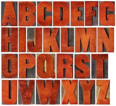Obraz abeceda set v knihtisk dřeva typu