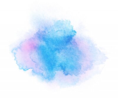 Obraz Abstract blue and purple watercolor on white background. Hand drawn color splashing isolated on white paper, vector illustration.
