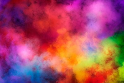 Obraz Abstract clouds of color smoke colorful texture background. Colored fluid powder explosion, dust, vape smoke liquid abstract clouds design for poster, banner, web, landing page, cover. 3D illustration