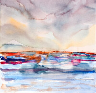 Obraz abstract colorful seascape watercolor painted