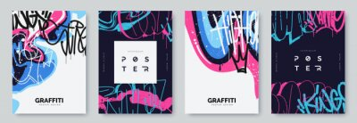 Obraz Abstract graffiti poster with colorful tags, paint splashes, scribbles and throw up pieces. Street art background collection. Artistic covers set in hand drawn graffiti style. Vector illustration