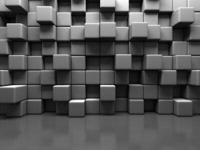 Obraz Abstract Gray Cube Blocks Wall Background
