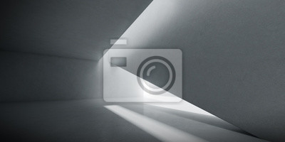 Obraz Abstract of concrete interior space with sun light cast the shadow on the wall and floor,Geometric design,Perspective of brutalism  architecture,3d rendering