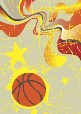 Obraz Abstract vertical basketball banner with yellow stars