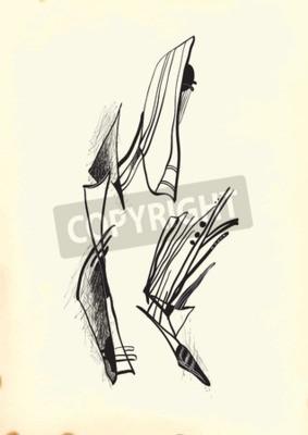Obraz Abstrakce kubismem. Ruka tažené vektorové ilustrace ze série: Art of Line Art. Technika: Digitální kresba.