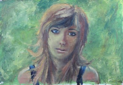 Obraz Abstrakt dívka portrét na zelené olejomalbu na plátně