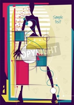 Obraz Abstrakt dívka v zářivě módní pozadí. Místo pro váš text. Vektorové ilustrace.