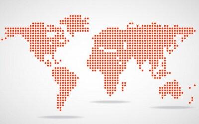 Obraz Abstrakt mapa světa kulatých teček. Vektorové ilustrace. ePS 10
