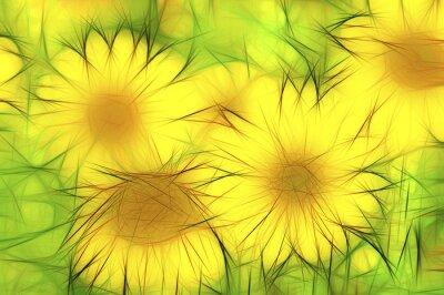 Obraz abstrakte moderne Illustration gelbe Sonnenblumen