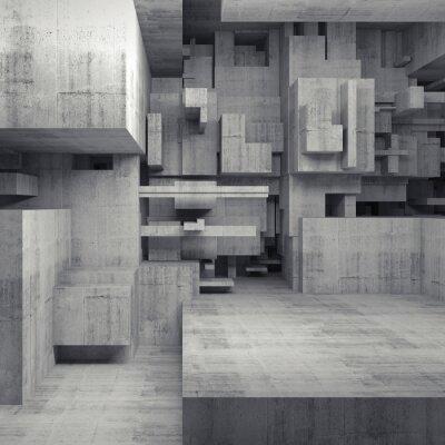 Obraz Abstraktní 3d beton interiér s chaotickým kostkami