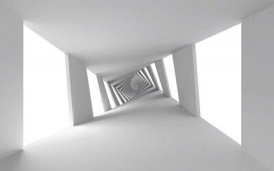 Obraz Abstraktní 3d pozadí s bílým kroucené spirálové chodby