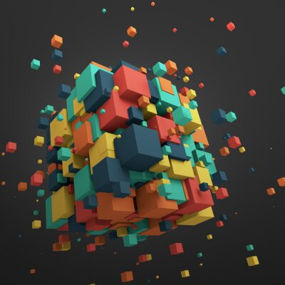 Obraz Abstraktní 3D vykreslování Flying Cubes.