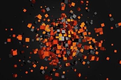 Obraz Abstraktní 3D vykreslování létající kostky.