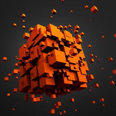 Obraz Abstraktní 3D vykreslování létajících kostky.