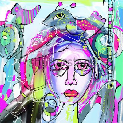 Obraz abstraktní abstraktní digitální obraz lidské tváře, barevné složení v moderním moderním umění, ideální pro interiérový design, stránky dekorace, web a další, vektorové ilustrace