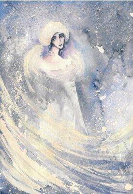 Obraz Abstraktní akvarel ilustrace zobrazující portrét ženy-zima