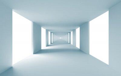 Obraz Abstraktní architektura 3d pozadí, prázdný modrá chodba