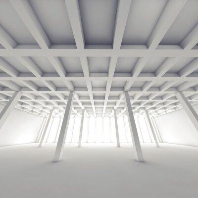 Obraz Abstraktní architektura, prázdné bílé místnosti 3 d