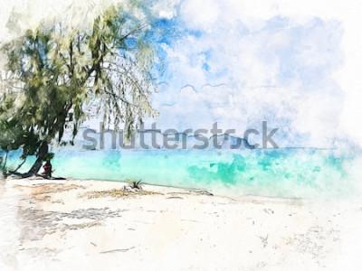 Obraz Abstraktní barevné krásné pohoří a mořské vody v Krabi, Thajsko na akvarel ilustrace malování pozadí.