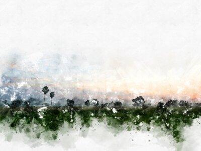 Obraz Abstraktní barevné pole krajina na akvarel ilustrace malování pozadí.