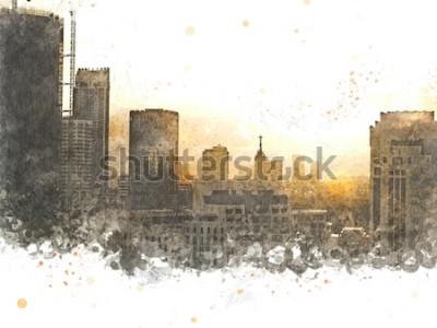 Obraz Abstraktní budova ve městě na pozadí akvarelu. Město na digitální ilustrace štětec na umění.