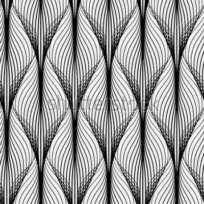 Obraz Abstraktní geometrický vzor s vlnitými čarami. Bez zajímavého pozadí. Monochromatický ornament. Rastrovaná verze