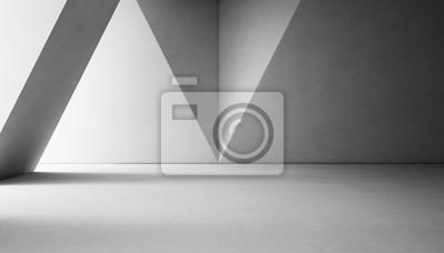 Obraz Abstraktní interiérový design moderní showroom s prázdnou bílou betonovou podlahou a šedou stěnou pozadí - 3d vykreslování