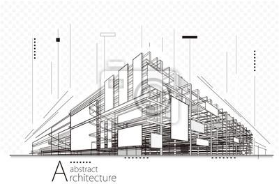 Obraz Abstraktní konstrukce perspektivní architektury navrhování čáry umění pozadí.