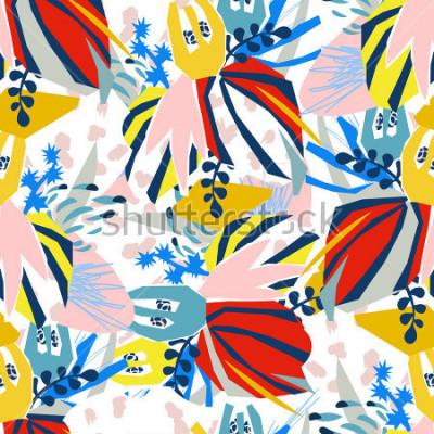 Obraz Abstraktní květinové prvky papírové koláže.Vektorové ilustrace přátel.Sketch připraven k současnému skandinávskému bytovému designu - plakát, pozvánka, pohlednice, tričko design.Stačí patte