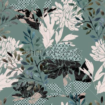 Obraz Abstraktní květinový vzor bezešvé. Akvarelové květiny, listy plné minimálních textur. Přírodní pozadí. Ručně malované podzimní ilustrace pro textilní, textilní, obalový design