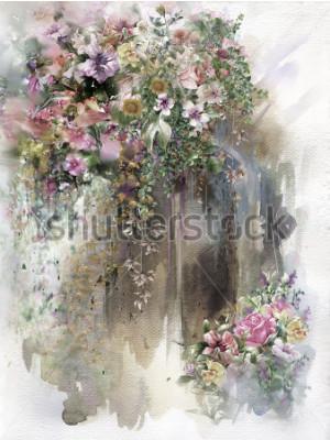 Obraz Abstraktní květiny na nástěnné akvarel malování. Jarní vícebarevné květiny