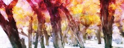 Obraz Abstraktní malba barevných lesů se žlutými listy na podzim